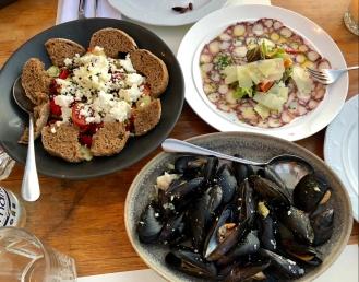 Fresh oysters, octopus carpaccio and cretan salad