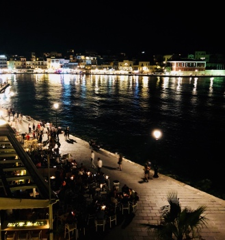 The view of the Venetian harbour from the terrace .